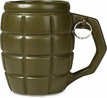 XXL Granate Tasse in olivgrün mit 790ml Fassungsvermögen - XXL Granate Tasse Kaffeetasse Bombe Becher