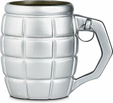 XXL Granate Tasse in silber mit 790ml Fassungsvermögen - XXL Granate Tasse Kaffeetasse Bombe Becher
