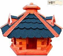 XXL große Gartendeko aus Holz, große Vogelvilla Holz mit BLAU blaugrau /ohne Ständer BLAU blaugraue Dachschindeln Vogelhaus, Gartendeko , große Größen, auch mit vogelhausständer und Silo,