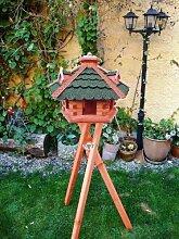 XXL großes Vogelhaus, Gartendeko , große Größen, auch mit vogelhausständer und Silo, ACHTUNG kein Bausatz von amazon oder zum Bemalen aus Holz, komplett mit Ständer, Futterhaus GRÜN moosgrün Vogelfutter