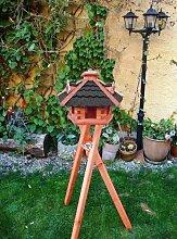 XXL großes Vogelhaus, Gartendeko , große Größen, auch mit vogelhausständer und Silo, ACHTUNG kein Bausatz von amazon oder zum Bemalen aus Holz, Futterstation mit Silo schwarz anthrazit anthrazit dunkel grau komplett mit Ständer,