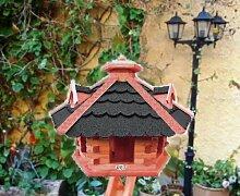 XXL großes Vogelhaus, Gartendeko , große Größen, auch mit vogelhausständer und Silo, ACHTUNG kein Bausatz von amazon oder zum Bemalen aus Holz, mit Silo Holz mit Dach schwarz anthrazit anthrazit dunkel grau ohne Ständer