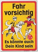 XXL-Hinweisschild 70 x 50cm - Fahr vorsichtig Es könnte auch Dein Kind sein - Schild Warnschild Spielplatz Spielende Kinder Spielstraße Warnzeichen Kunststoff Kunststoffschild