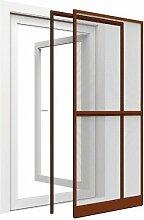 XXL Insektenschutz Tür Premium 120 x 240 cm mit Alurahmen in braun und Klemmzarge - Montage ohne Bohren möglich, mit durchgehenden seitlichen Profilen (kürzbar) und Dichtungsbürste
