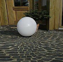 XXL Kugelleuchte 60 cm Ø, weiße Gartenlampe, Außenleuchte, schöne Deko für Innen & Außen, Gartenbeleuchtung, Gartenkugel für Energiesparlampen E27 & LED - 230 V & 200W, Kugellampe mit IP44, 2 m Kabel