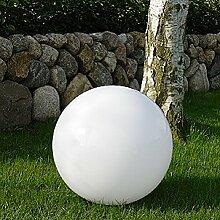 XXL Kugelleuchte 60 cm Ø, weiße Gartenlampe, Außenleuchte, strahlend schöne Deko für Innen & Außen, Gartenbeleuchtung, Gartenkugel für Energiesparlampen E27 & LED - 230 V & 23W, Kugellampe mit IP44