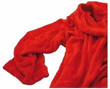 XXL Kuscheldecke, Kuscheldecken, ÄRMELN u. TASCHE Erwachsenen Fleecedecke (Rot)