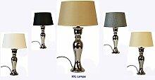 XXL Lampe Lampenfuß mit Schirm Spar Set Tischlampe Tischleuchte Keramik (Beige)
