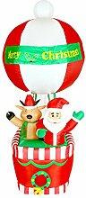 XXL LED Heissluftballon+SANTA+RENTIER~210 CM HOCH~SELBSTAUFBLASEND~LED BELEUCHTET~DEKO GARTEN FIGUR~AIR BLOWN~WEIHNACHTSDEKO~WEIHNACHTSMANN mit BALLON~AIRBLOWN~AUFBLASBAR~INFLATABLE
