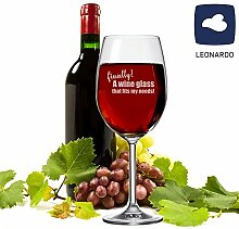 "XXL Leonardo Weinglas ""finally! A wine glass that feeds my needs!"" - lustige Geschenkidee - für Weinliebhaber - Mann/Frau - Weihnachtsgeschenk - Geburtstagsgeschenk"