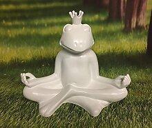 XXL meditierender Frosch weiß Dekofigur mit Krone Gartenfigur
