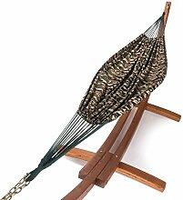 XXL Outdoor Hängematte mit Gestell Madagaskar 400 cm   Holz braun aus sibirische Lärche wetterfest   Doppelhängematte Camouflage ohne Spreizstab