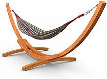 XXL Outdoor Hängematte mit Gestell Madagaskar 450 cm braun   Hängemattengestell Holz aus sibirischer Lärche wetterfest   Doppelhängematte bunt gestreift aus Baumwolle ohne Stab