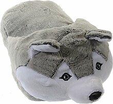 XXL Pantoffel Fußwärmer Husky Hausschuhe Tier Plüsch Puschen Fußkissen 25x40 cm warme Füße am Schreibtisch originelle Geschenkidee Winter Typ493