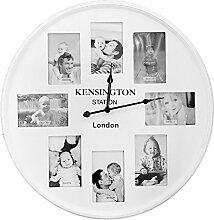 XXL Quarz Wanduhr mit 8 Fotorahmen 10x15cm Fotouhr Bilderuhr Wohnzimmeruhr Küchenuhr Landhaus Weiß Ø 60 cm