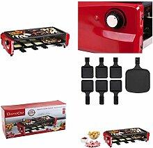 XXL Raclette-Grill mit großer Pizza-Pfanne 6 Pfännchen (Elektrogrill, 1800 Watt, für 6 Personen, Thermostat, Party-Grill)