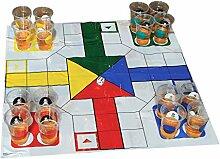 XXL Schach und Ludo Trinkspiel mit 32 Bechern und Spielfeld - XXL Schach und Ludo Saufspiel Partyspiel Alkohol