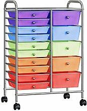 XXL Schubladenwagen mit 15 Schubladen Mehrfarbig