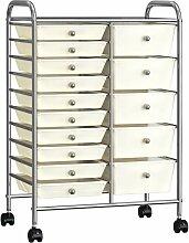 XXL Schubladenwagen mit 15 Schubladen Weiß