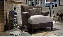 XXL-Sessel Hudson / Zweifarbiger Polstersessel in cappucino/ dunkelbraun mit Holzfüßen, großer Sitzfläche, Polsterung und 2 weichen Zierkissen / 123x107x122 (BxHxT)