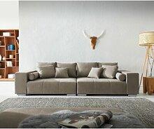 XXL-Sofa Bolton Grau 285X115 Cm Mit 10 Kissen Big