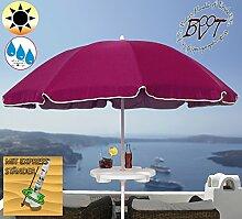 XXL Sonnenschirm inkl. Schirmtisch gross, 180 cm / 1,80 m EDEL mit Volant, Sonnendach Schirm Strandschirm r8 eckig, gediegen-violett lila Rand weiß, 8-tlg. Strandschirm,Sonnendach /Sonnenschutz Dach, XXL-Klappschirm, Gartenschirm extrem wetterfest, klappbar, tragbar, seewasserfest, hochwertig robust stabil, Sonnenschutz, stabiler Schirm Klappschirm, Strandschirme, Sonnenschirme, Sonnenschirm-Tische, Regenschirm Picknickschirme