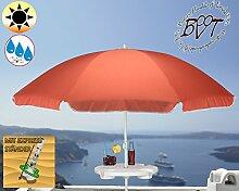 XXL Sonnenschirm inkl. Schirmtisch gross, 180 cm / 1,80 m EDEL-rot lachsrot orange mit Volant, 8-teilig / 8-eckig massiv robust, Strandschirm,Strandschirm,Sonnendach /Sonnenschutz Dach, XXL-Klappschirm, Gartenschirm extrem wetterfest, klappbar, tragbar, seewasserfest, hochwertig robust stabil, Sonnenschutz, stabiler Schirm Klappschirm, rot lachsrot orange, Strandschirme, Sonnenschirme, Sonnenschirm-Tische, Regenschirm Picknickschirme