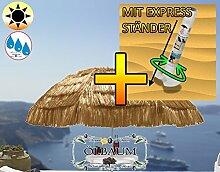 XXL-Strandschirm, Hawaii Style mit Fransen beige/naturweiss, EXTREM WETTERFEST, Sonnenschirm inkl. Schirmabstelltisch für Karibikurlaub zu Hause, Größe ca. 160 cm - 180 cm robuster Schirm für Garten Strand, Picknick Lagerfeuer, Sonnenschirm,XXL-Klappschirm, klappbar, tragbar, seewasserfest, hochwertig robust stabil, Sonnenschutz, stabiler Schirm Klappschirm, Strandschirme, Sonnenschirme, Sonnenschirm-Tische
