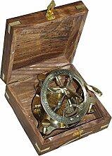 XXL Sundial Kompass, Sonnenuhr- Kompass in edler Holzbox, Messing polier