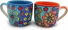 XXL Tasse Kaffeetasse Teetasse Geschirr Keramik Bemalt Bunt Groß Set/2 - Gall&Zick