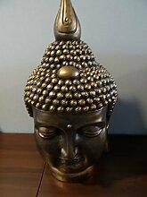 XXL Thai Buddha Kopf wetterfest Feng Shui Figur Dekofigur Skulptur Buddhakopf - Großer Buddha Kopf in altgold aus hochwertigem wetterfestem Polyresin - handgefertigte und handbemalte Markenqualitä