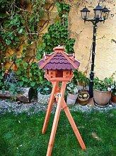 XXL Vogelhaus, Gartendeko , große Größen, auch mit vogelhausständer und Silo, ACHTUNG kein Bausatz von amazon oder zum Bemalen groß aus Holz, ROT dunkelrot /komplett mit Ständer, ROT dunkelrote Bitumschindeln NEU
