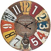 XXL Wanduhr aus Holz mit Pendel - bunt arabische Ziffern Vintage Nostalgie Shabby Chic Antiquites Antik Uhr Holzuhr