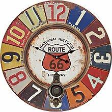XXL Wanduhr aus Holz mit Pendel - Route 66 bunt arabische Ziffern Vintage Nostalgie Shabby Chic Uhr Holzuhr
