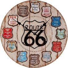 XXL Wanduhr ROUTE 66 SCHILDER braun bunt D 60cm rund Clayre & Eef (64,95 EUR / Stück)