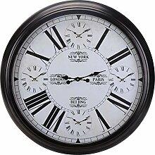 XXL Weltzeituhr Wanduhr mit Weltzeiten Schwarz Ø 93cm Metall World Time Clock