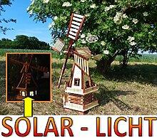 XXL windmühle, Gartenwindmühle 100 cm, zweistöckig 2 Balkone aus Holz, Gartendeko Terrasse windmühlen mit Seitenruder/Windfahne, komplett mit Solar, Solarbeleuchtung DOPPEL-SOLAR LICHT WMH100he-MS 1 m groß hellbraun braun hell