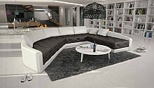XXL Wohn-Landschaft mit Kunstleder Bezug 380x290 cm halbrund dunkelbraun / weiß | Retosec | Designer Eck-Sofa mit gesteppter Sitzfläche Ottomane links | Couch für Wohnzimmer dunkelbraun / weiss 380cm x 290cm