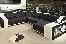 XXL Wohnlandschaft Leder BERLIN - Designer Sofa