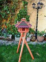 XXL XXL Vogelhaus, Gartendeko , große Größen, auch mit vogelhausständer und Silo, ACHTUNG kein Bausatz von amazon oder zum Bemalen aus Holz, Vogelfutterhaus in ROT dunkelrot GRÜN moosgrün mit Silo in Streifen komplett mit Ständer,