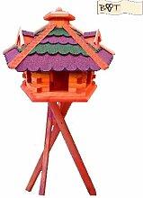 XXL XXL Vogelhaus, Gartendeko , große Größen, auch mit vogelhausständer und Silo, aus Holz, Vogelfutterhaus in ROT dunkelrot GRÜN moosgrün dicke Bitumen Streifen komplett mit Ständer,