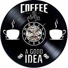 xxssg Kaffee Vinyl Schallplatte Wanduhr Modernes
