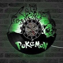 xxssg Pokemon Schallplatte Wanduhr mit