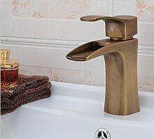 XXW Der moderne Waschtischmischer Warme und kalte Einzel-Loch Waschbecken Wasserhahn Antik Armaturen