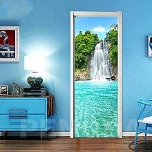 XXXCH 3D Türposter -Wasserfall Baumlandschaft