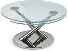 XXXLutz COUCHTISCH rund Chromfarben , Metall, Glas