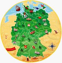 XXXLutz KINDERTEPPICH Gelb, Grün , Weltkarte