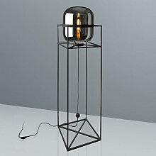XXXLutz STEHLEUCHTE, Schwarz, Glas, 38x154x38 cm