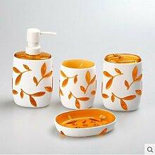 XY & GK Wasch Bad-Accessoires-Set von vier Geschenk-Sets, Acryl # 429con besten Service Orange