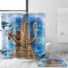 XY-QXZB Badezimmer-Duschvorhang, Polyester-Gewebe